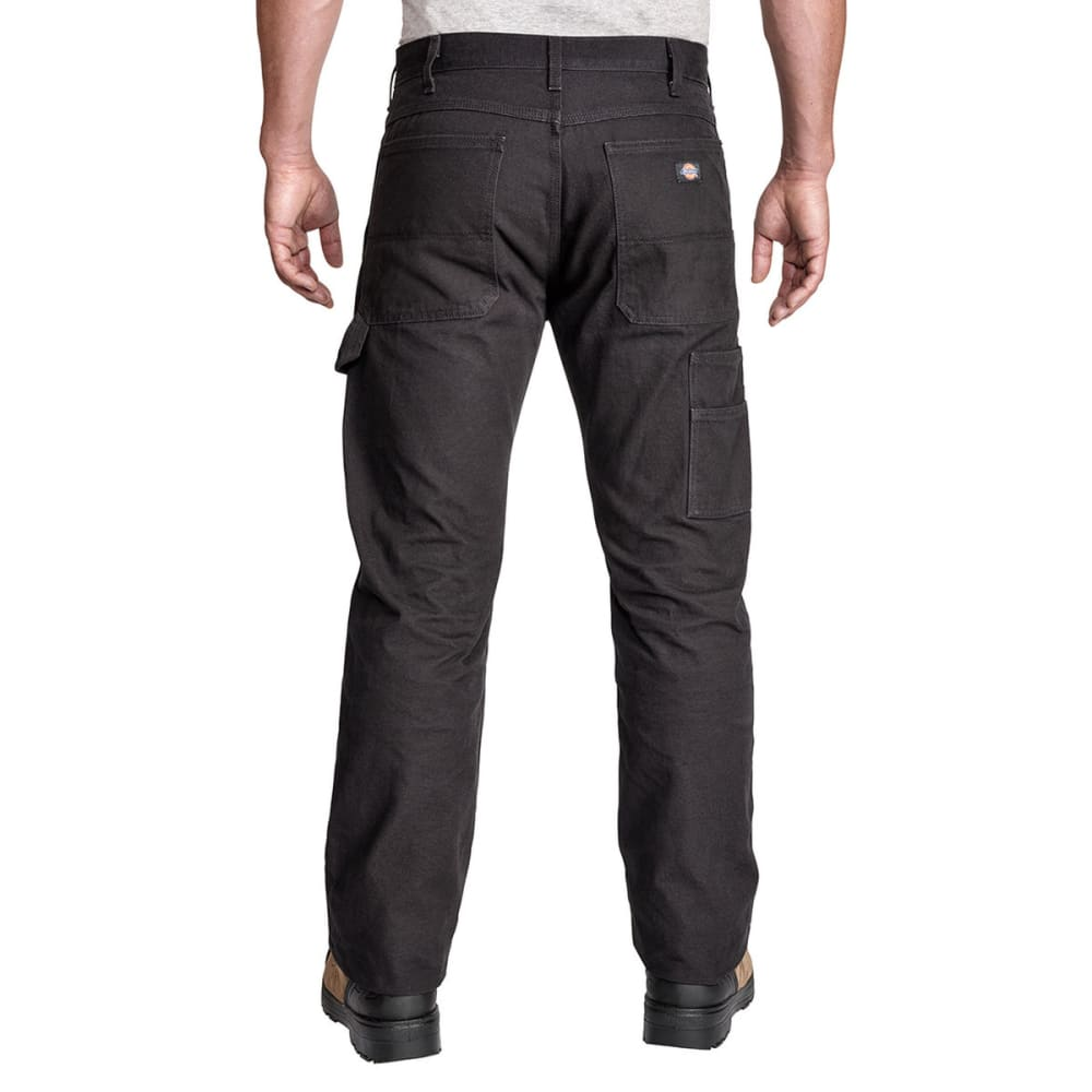 DICKIES Men's Relaxed Fit Straight Leg Double Front Duck Work Pant - RNSD BLACK-RBK