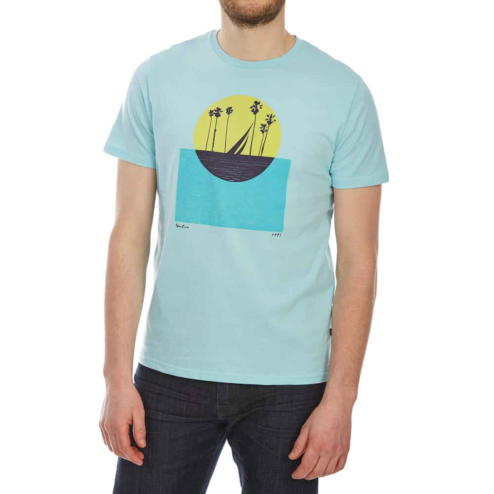 Nautica Men's Colorblock Sun Crew Short-Sleeve Tee - Blue, L
