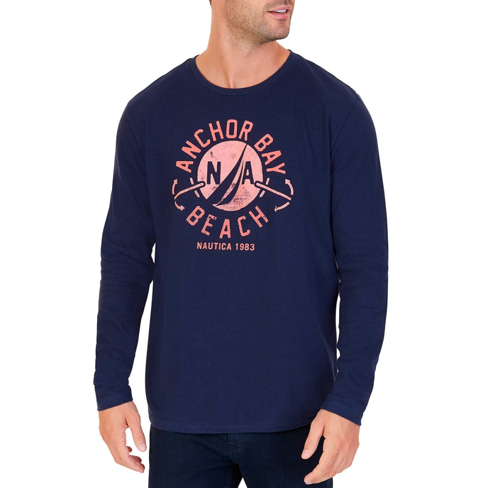 NAUTICA Men's Anchor Bay Beach Graphic Long-Sleeve Tee - NAVY-4NV