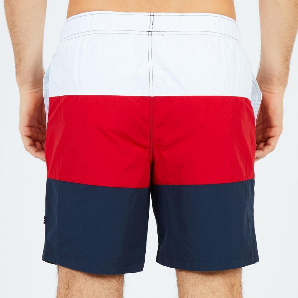NAUTICA Men's Quick-Dry Colorblock Drawstring Swim Shorts - RACER RED-6RA
