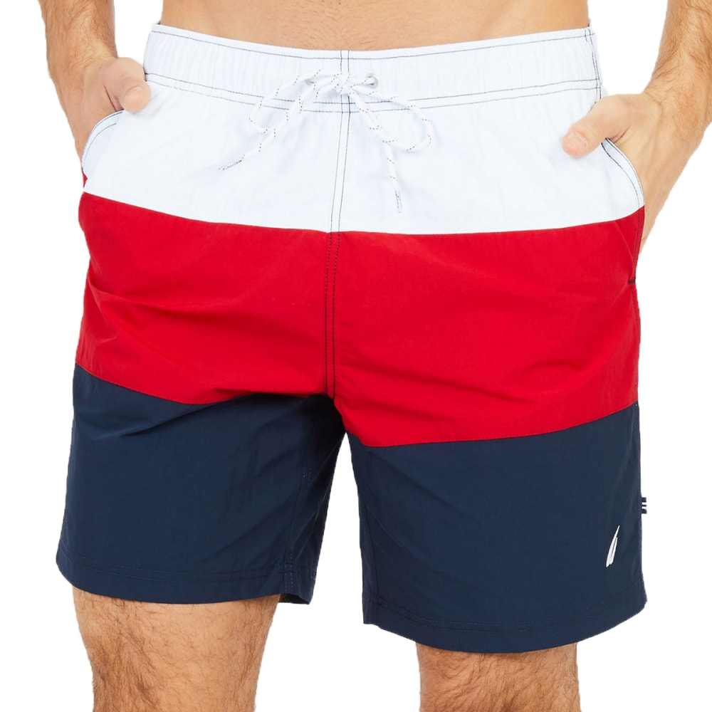 Nautica Men's Quick-Dry Colorblock Drawstring Swim Shorts - Red, L