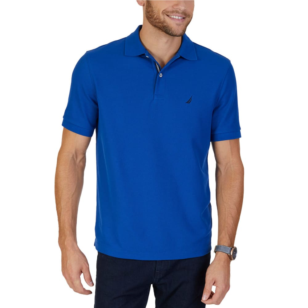 NAUTICA Men's Solid Deck Short-Sleeve Polo Shirt - CARGO BLUE-4GG
