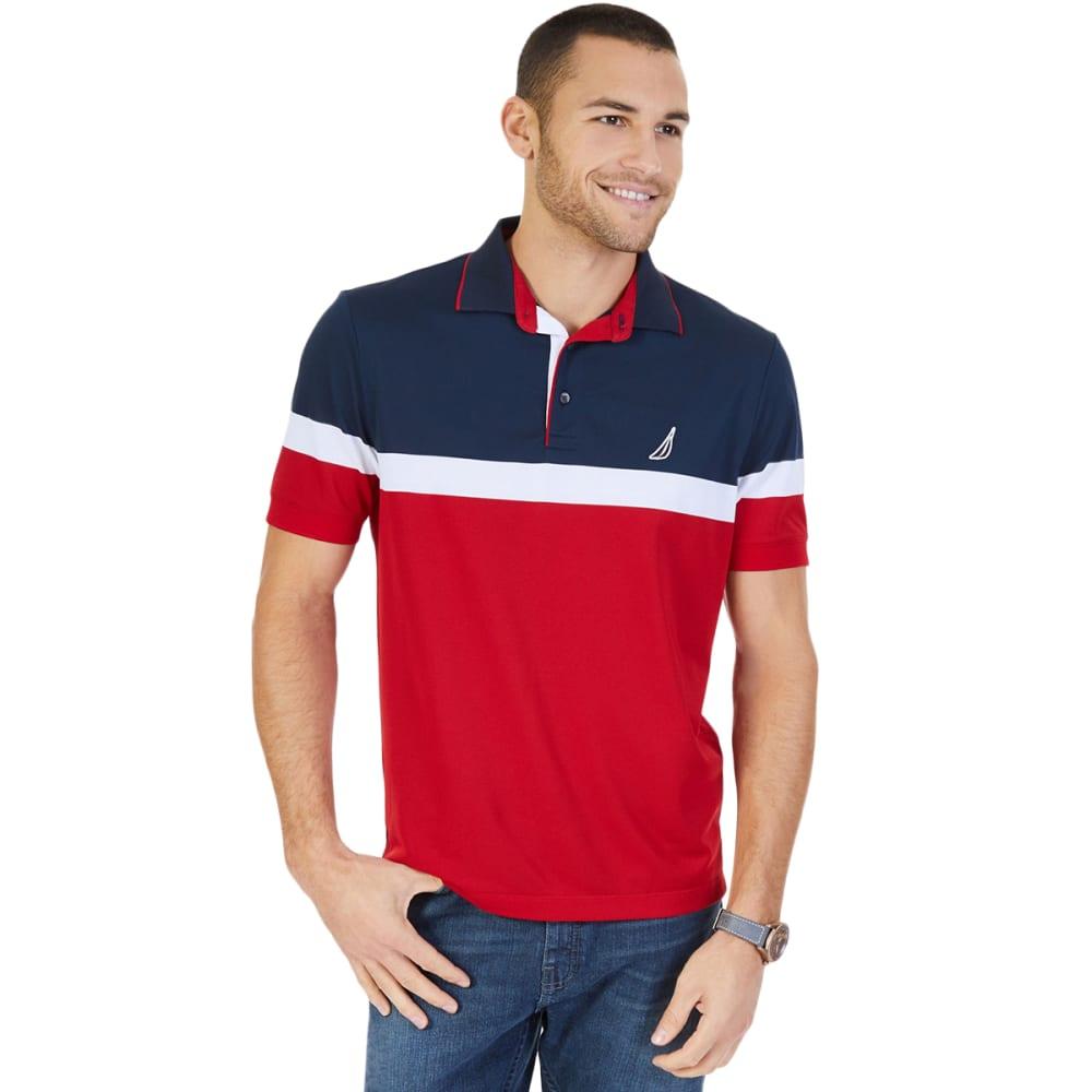 NAUTICA Men's Colorblock Performance Polo Shirt - NAUTICA RED-6NR