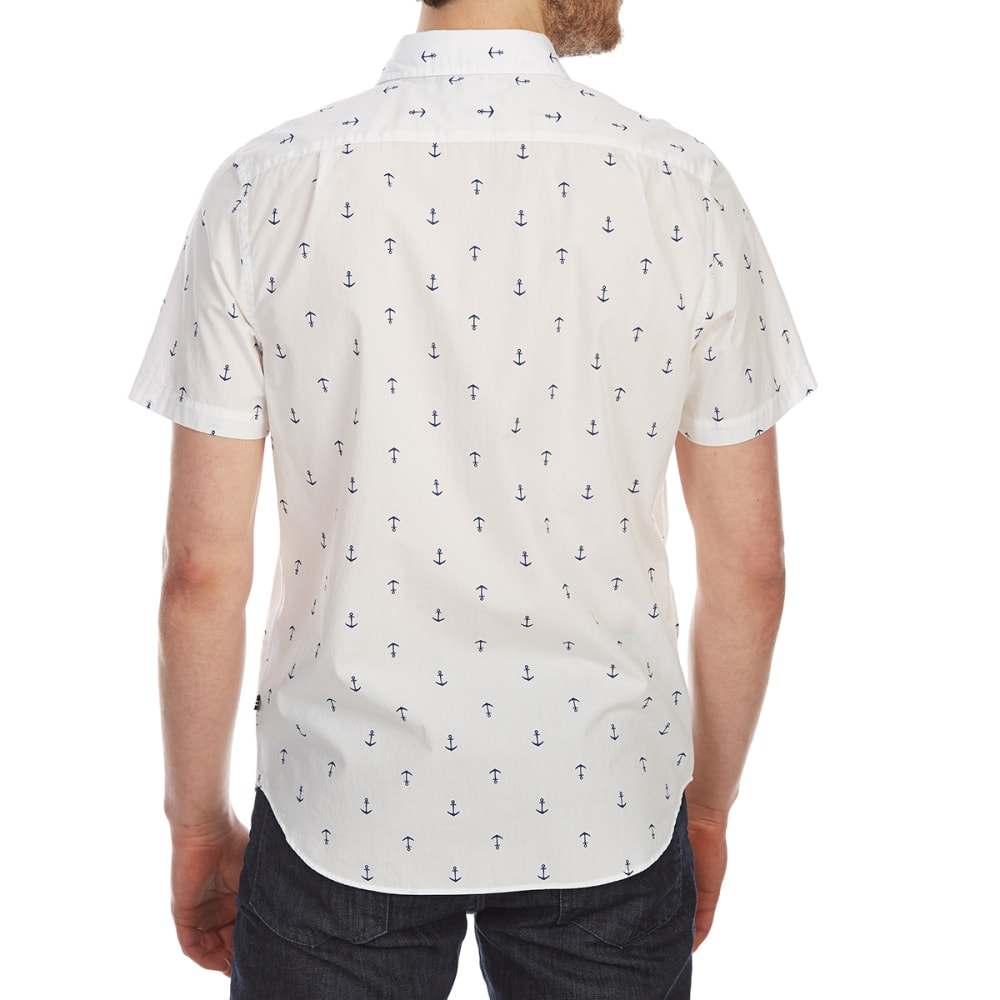 NAUTICA Men's Anchor Print Woven Short-Sleeve Shirt - BRIGHT WHITE-1BW