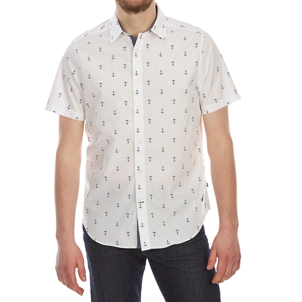 NAUTICA Men's Anchor Print Woven Short-Sleeve Shirt - BRIGHT WHITE-1BW