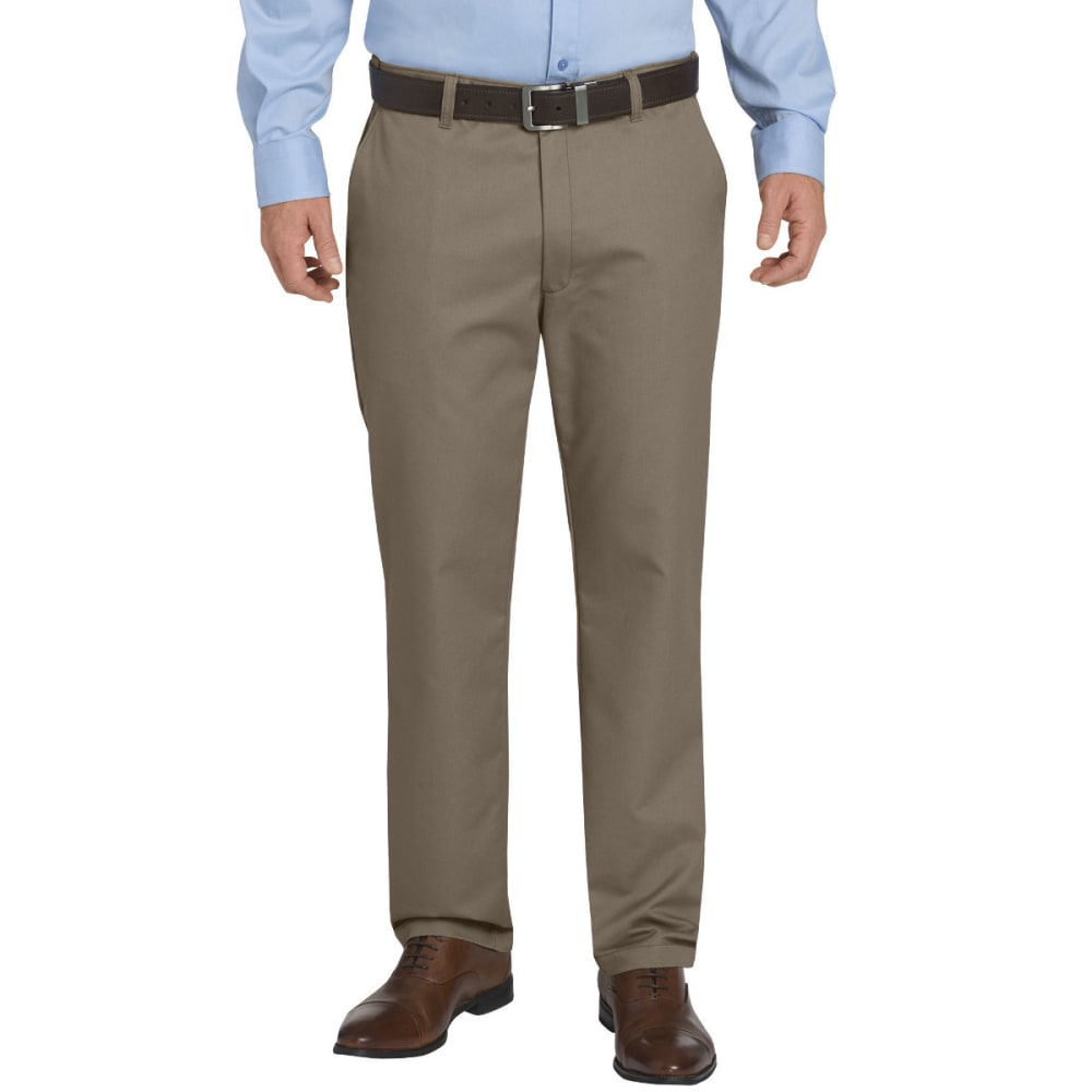 Dickies Men's Khaki Flex Regular Fit Tapered Leg Flat Front Sorona Pant