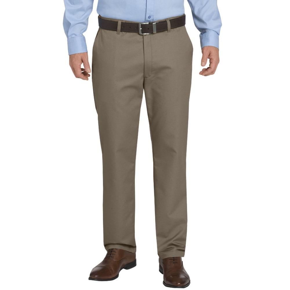 DICKIES Men's Khaki Flex Regular Fit Tapered Leg Flat Front Sorona Pant - RNSD PEBLE BROWN-RNP