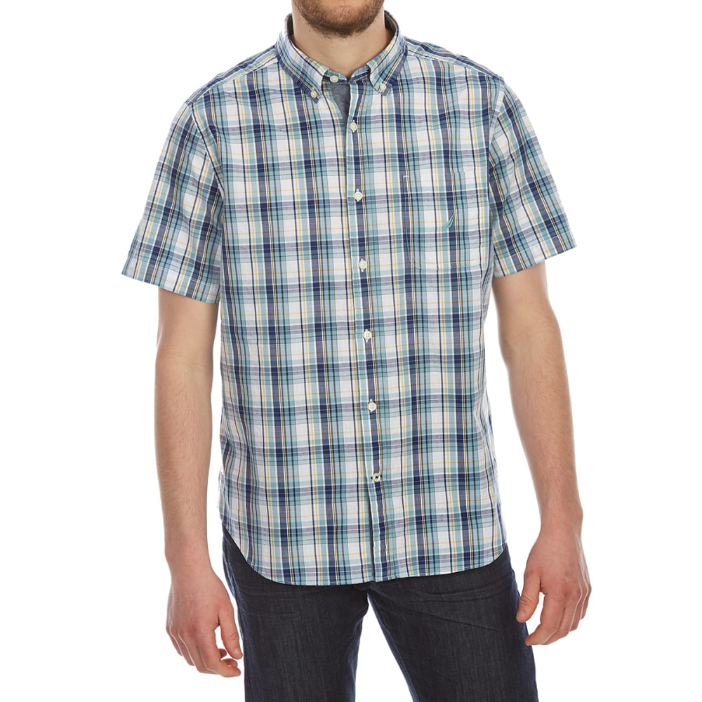 Nautica Men's Large Plaid Short-Sleeve Shirt - Blue, M