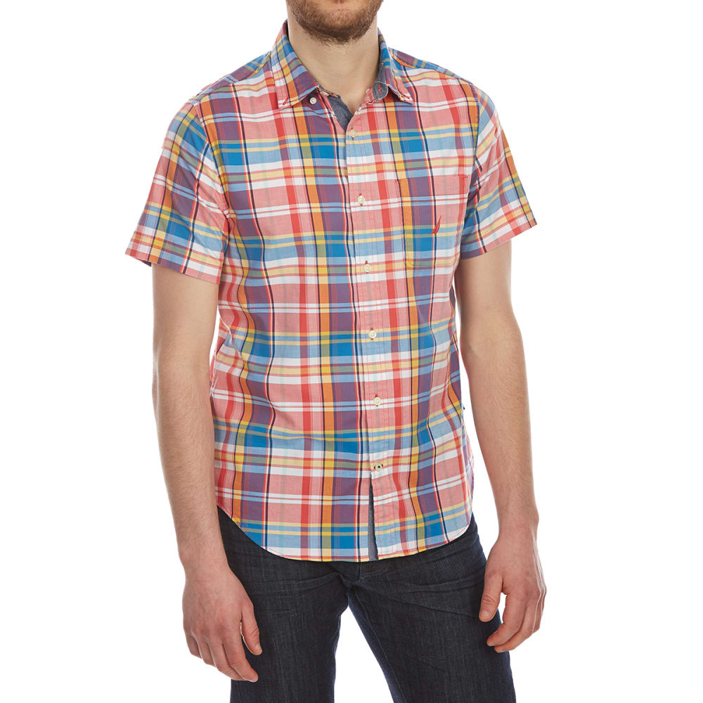 Nautica Men's Large Plaid Stretch Woven Short-Sleeve Shirt - Red, M