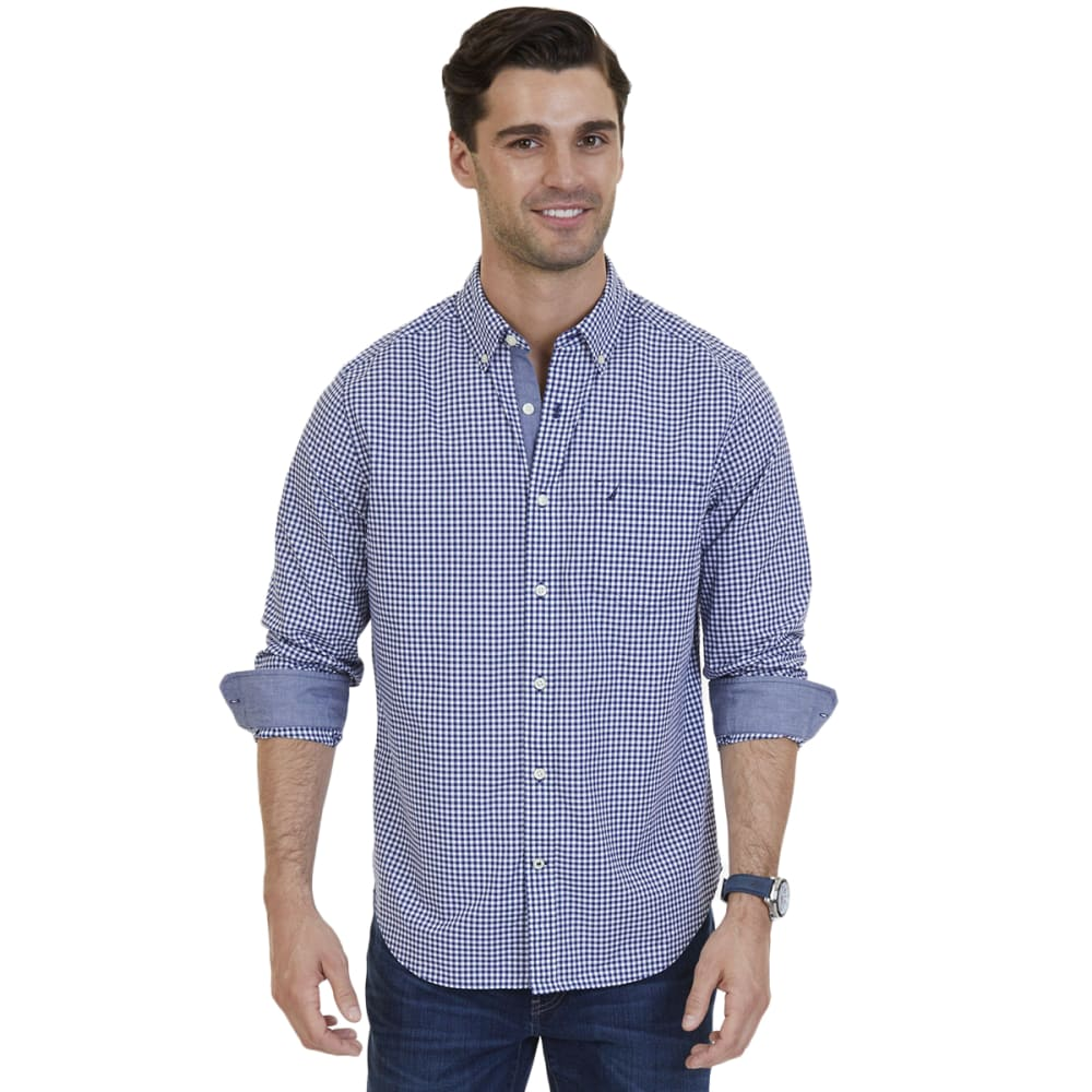 Nautica Men's Gingham Stretch Poplin Classic Fit Long-Sleeve Shirt - Blue, L