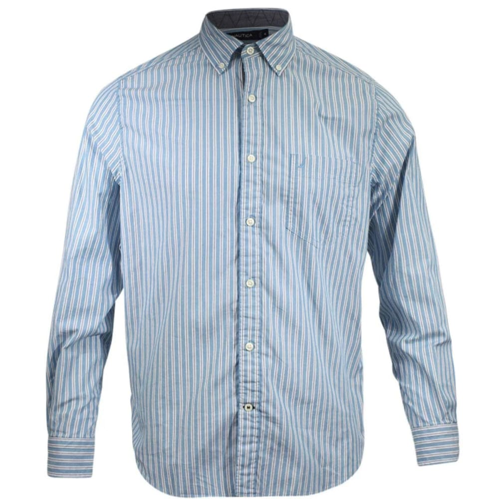 Nautica Men's Classic Fit Deep Stripe Long-Sleeve Shirt - Blue, XL