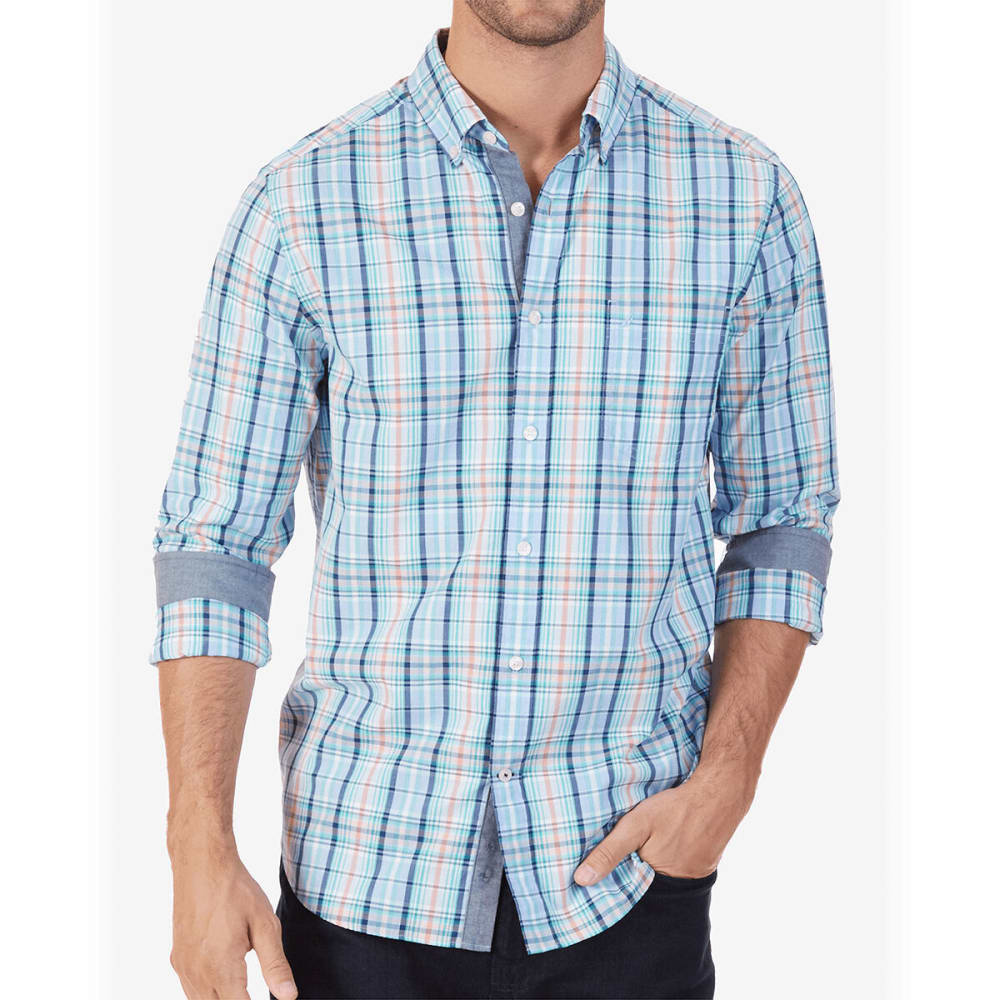 Nautica Men's Plaid Classic Fit Long-Sleeve Shirt - Blue, M