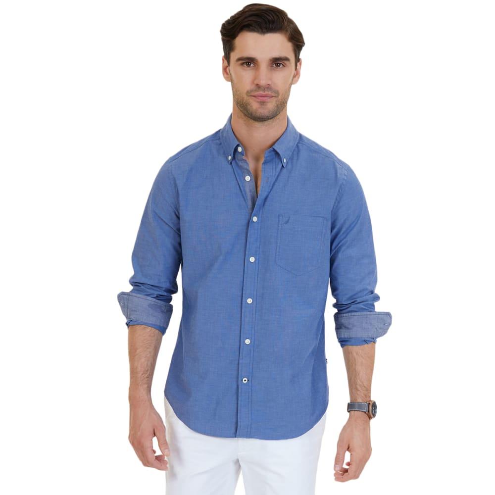 Nautica Men's Classic Fit Soft Wash Long Sleeve Button Down Shirt - Blue, M