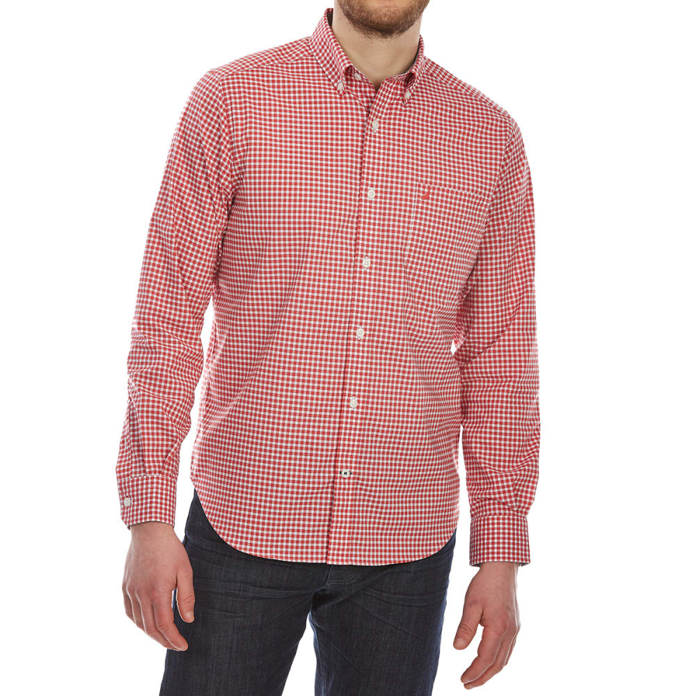 Nautica Men's Wear-To-Work Gingham Woven Long-Sleeve Shirt - Red, M