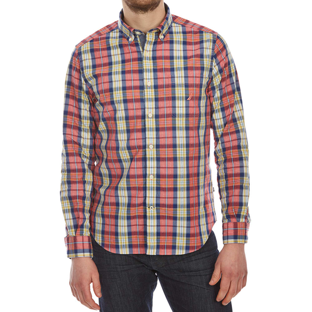Nautica Men's Large Leno Plaid Woven Long-Sleeve Shirt - Red, M