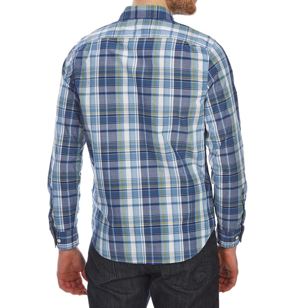 NAUTICA Men's Large Leno Plaid Woven Long-Sleeve Shirt - TIDE BLUE-4UW