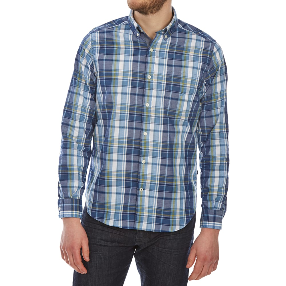 Nautica Men's Large Leno Plaid Woven Long-Sleeve Shirt - Blue, M