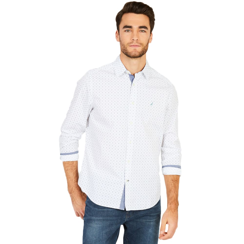Nautica Men's Classic Fit Anchor Print Long Sleeve Button Down Shirt - White, L