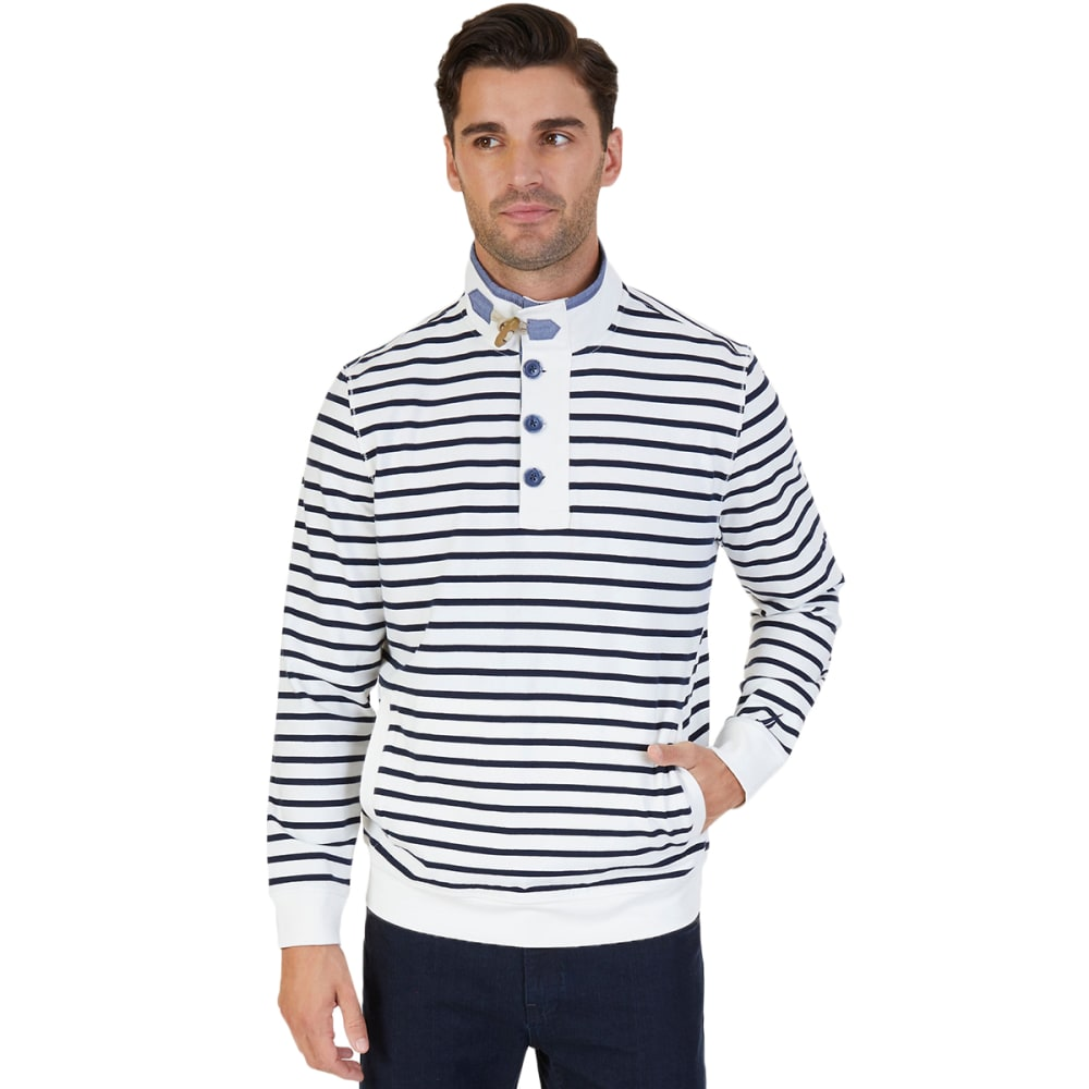 Nautica Men's Striped Funnel Neck Pullover - White, M