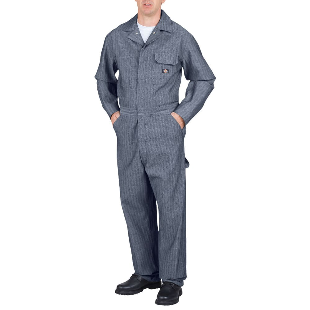 Dickies Men's Fisher Stripe Cotton Coverall, Extended Sizes - Blue, M TALL