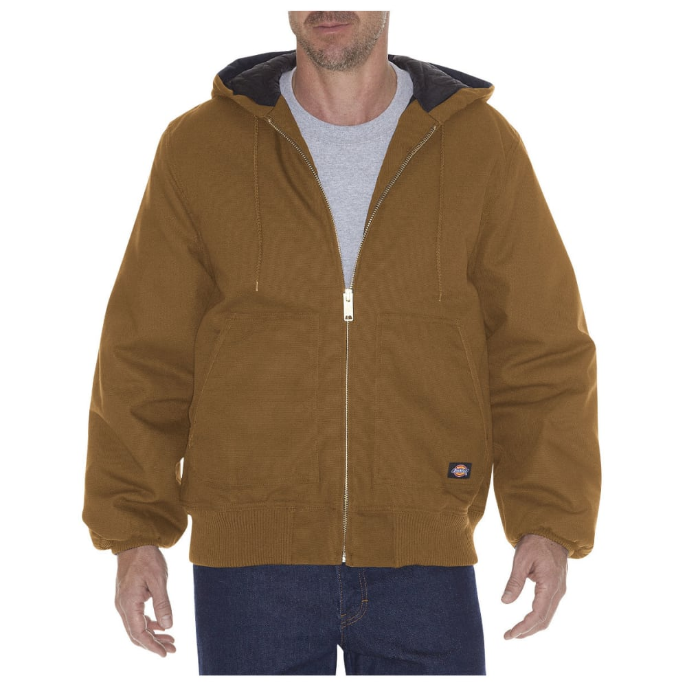 DICKIES Men's Rigid Duck Hooded Jacket, Extended Sizes - BROWN DUCK-BD