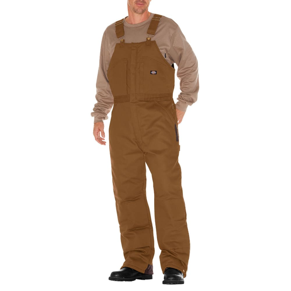 Dickies Men's Duck Insulated Bib Overall - Brown, 2XL SHRT