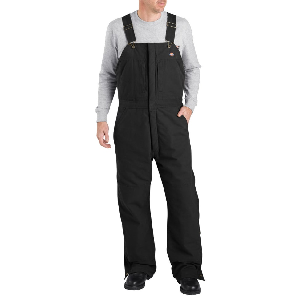 Dickies Men's Sanded Duck Insulated Bib Overall - Black, LG SHORT