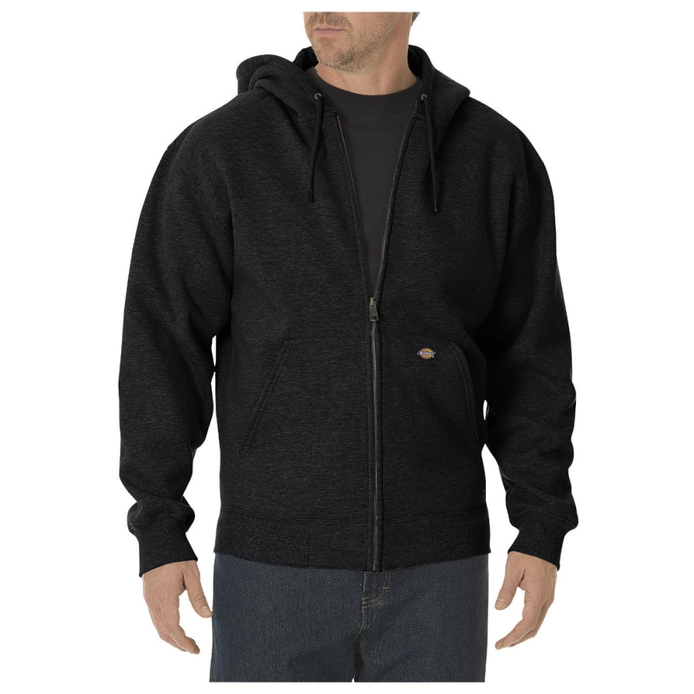 Dickies Men's Midweight Fleece Full Zip Hoodie, Extended Sizes - Black, L TALL
