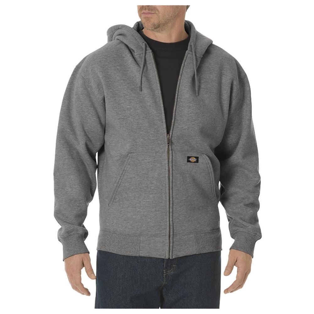 DICKIES Men's Midweight Fleece Full Zip Hoodie, Extended Sizes - HEATHER GREY-HG
