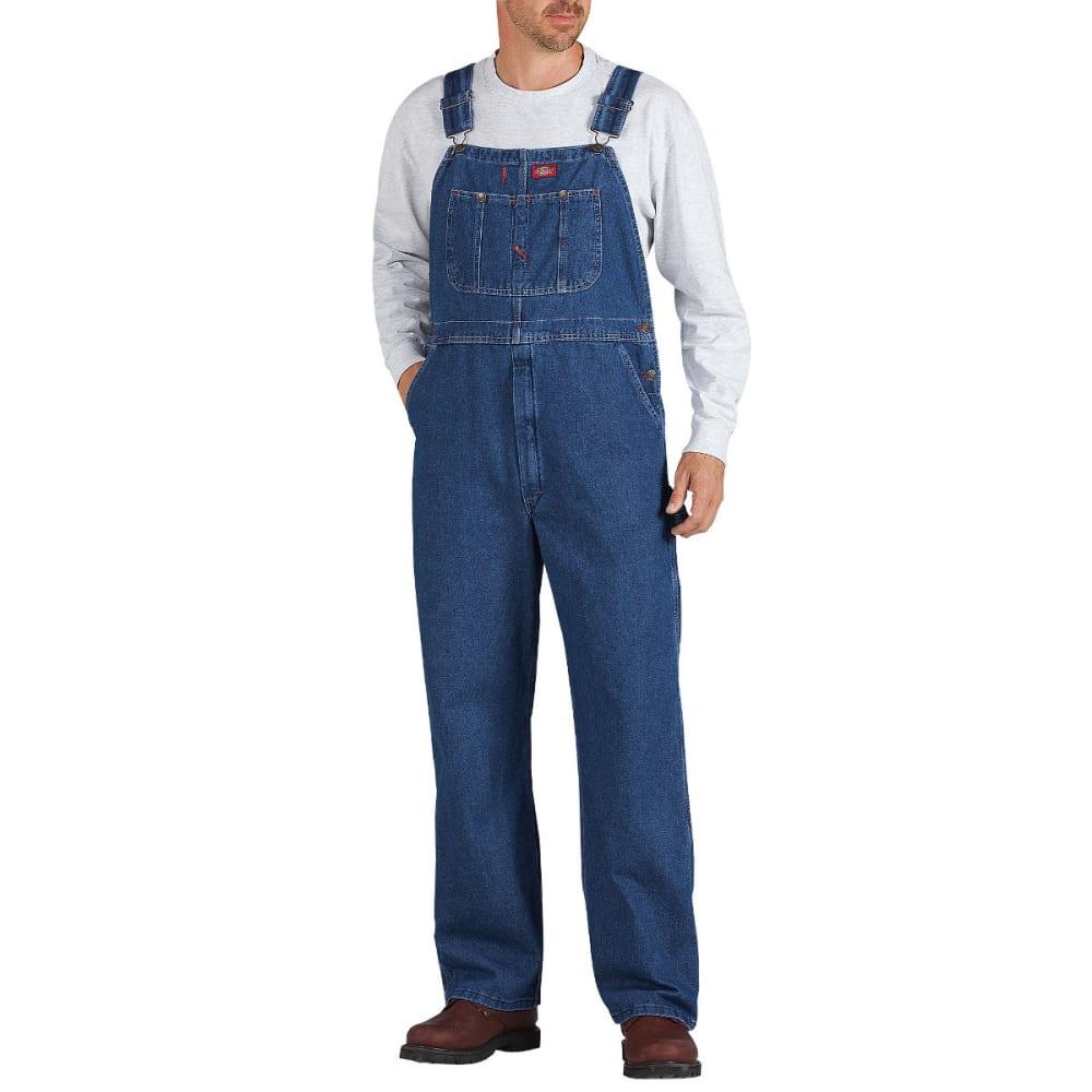 DICKIES Men's Washed Denim Bib Overall, Stonewashed Indigo Blue, Extended Sizes 46/30