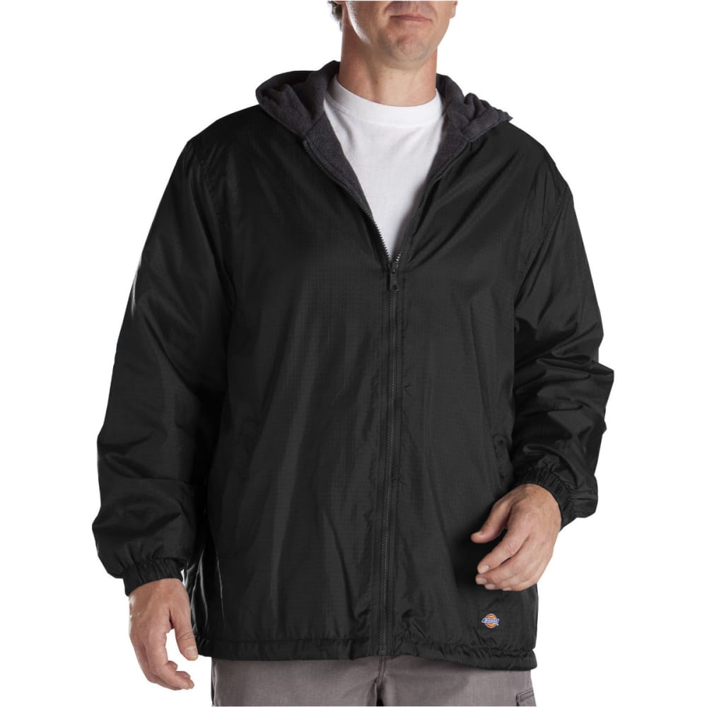 DICKIES Men's Fleece Lined Hooded Nylon Jacket - BLACK-BK