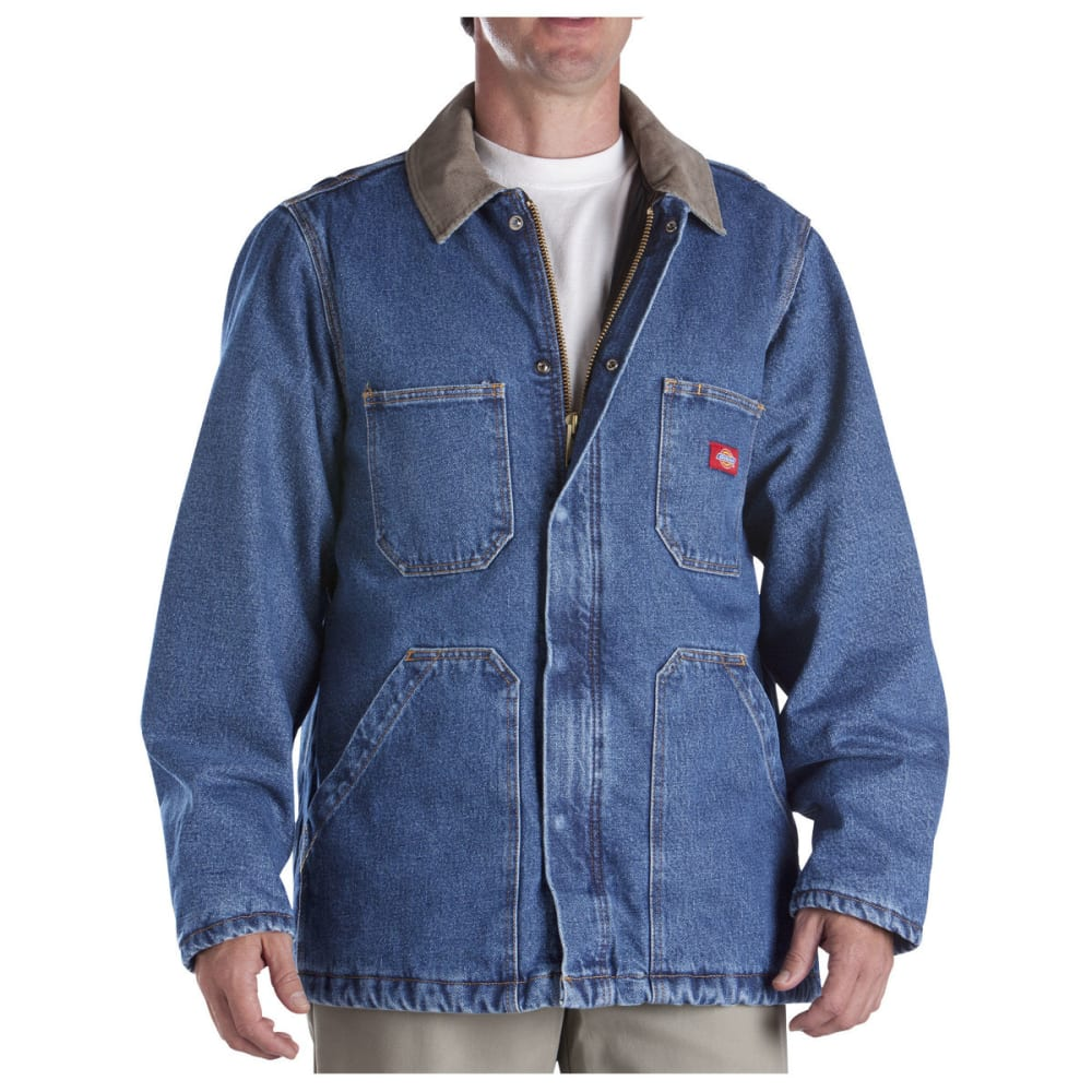 Dickies Men's Denim Zip Front Chore Coat, Stonewashed Indigo Blue