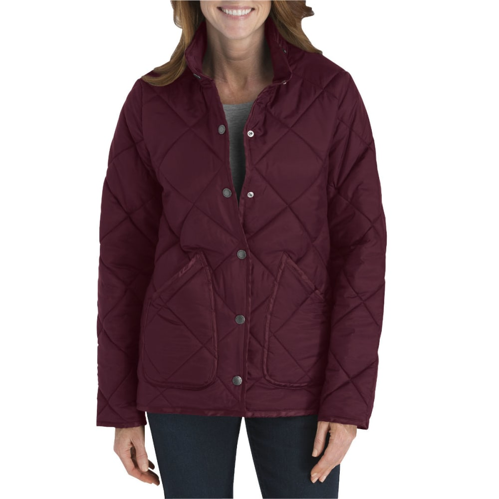 DICKIES Women's Diamond Quilted Nylon Jacket - BURGUNDY-BY