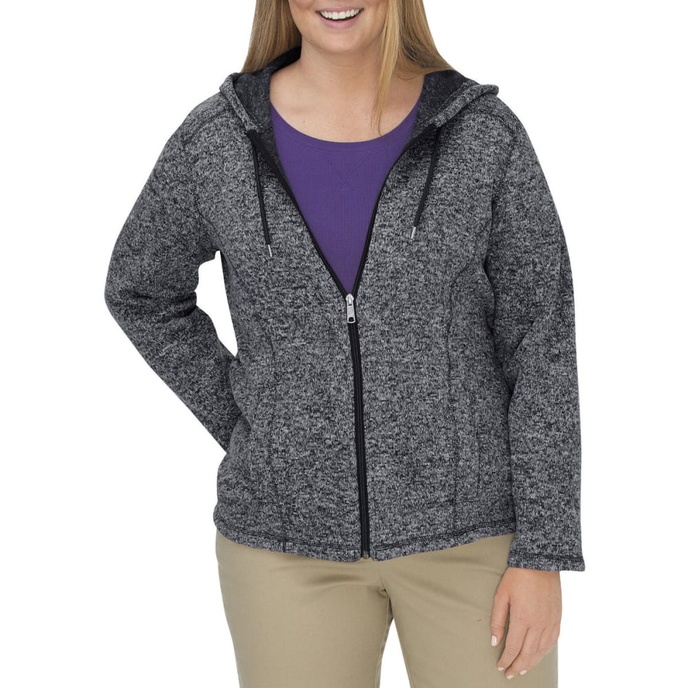Dickies Women's Sweater Hooded Fleece Jacket, Extended Sizes - Black, 1