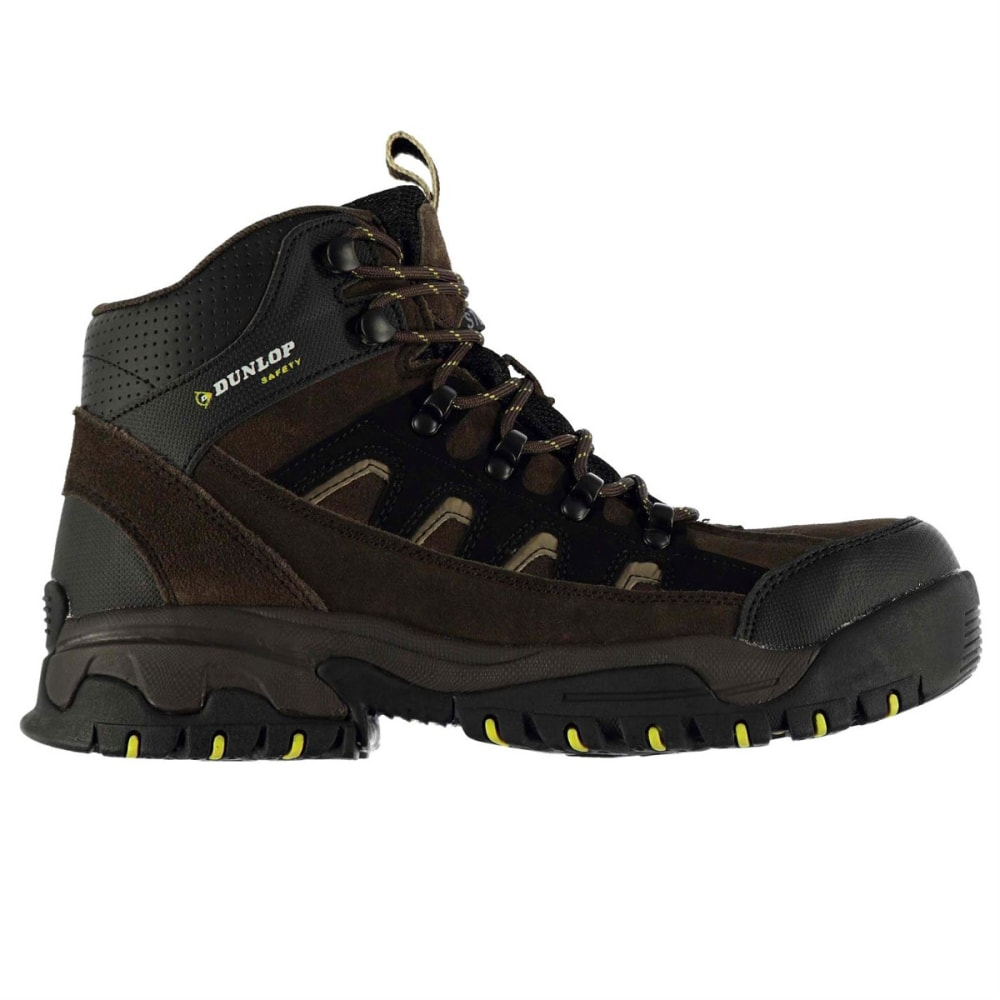 DUNLOP Men's Safety Hiker Steel Toe Work Boots - BROWN