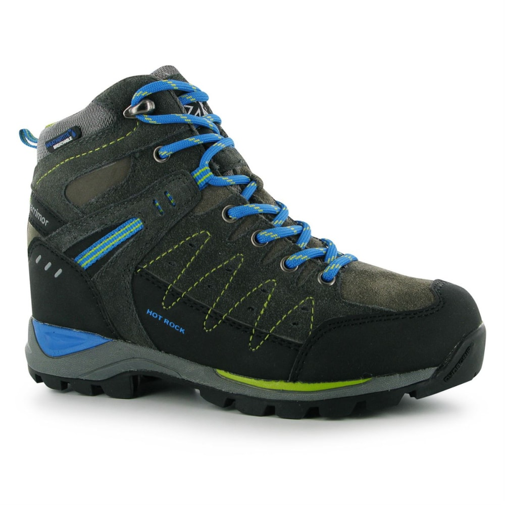 KARRIMOR Big Kids' Hot Rock Waterproof Mid Hiking Boots - CHARCOAL/BLUE