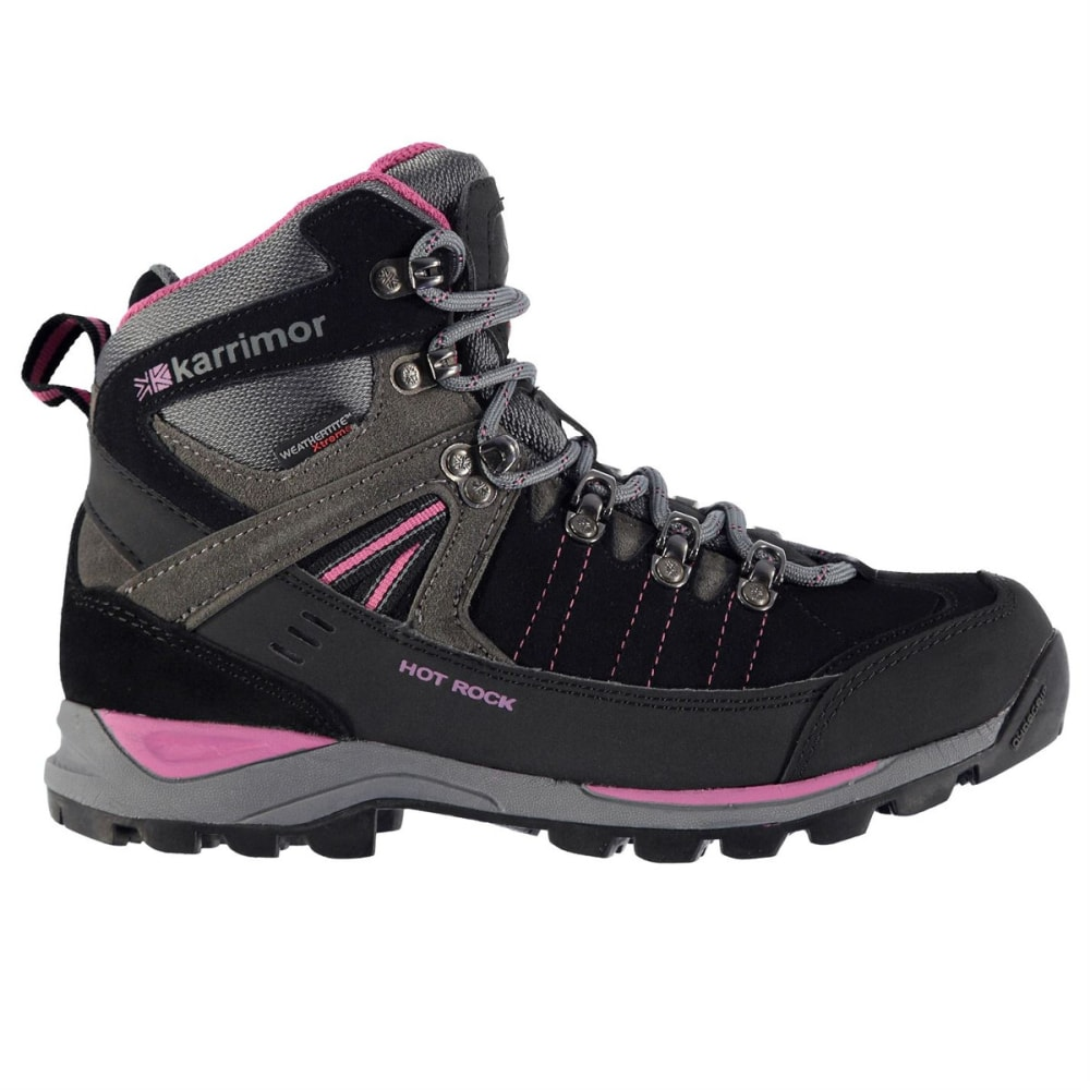 KARRIMOR Women's Hot Rock Waterproof Mid Hiking Boots - CHARCOAL/PINK