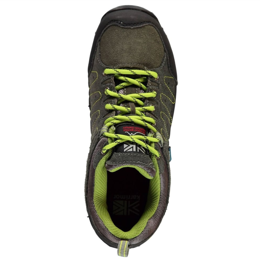 KARRIMOR Big Kids' Hot Rock Waterproof Low Hiking Shoes - CHARCOAL/GREEN