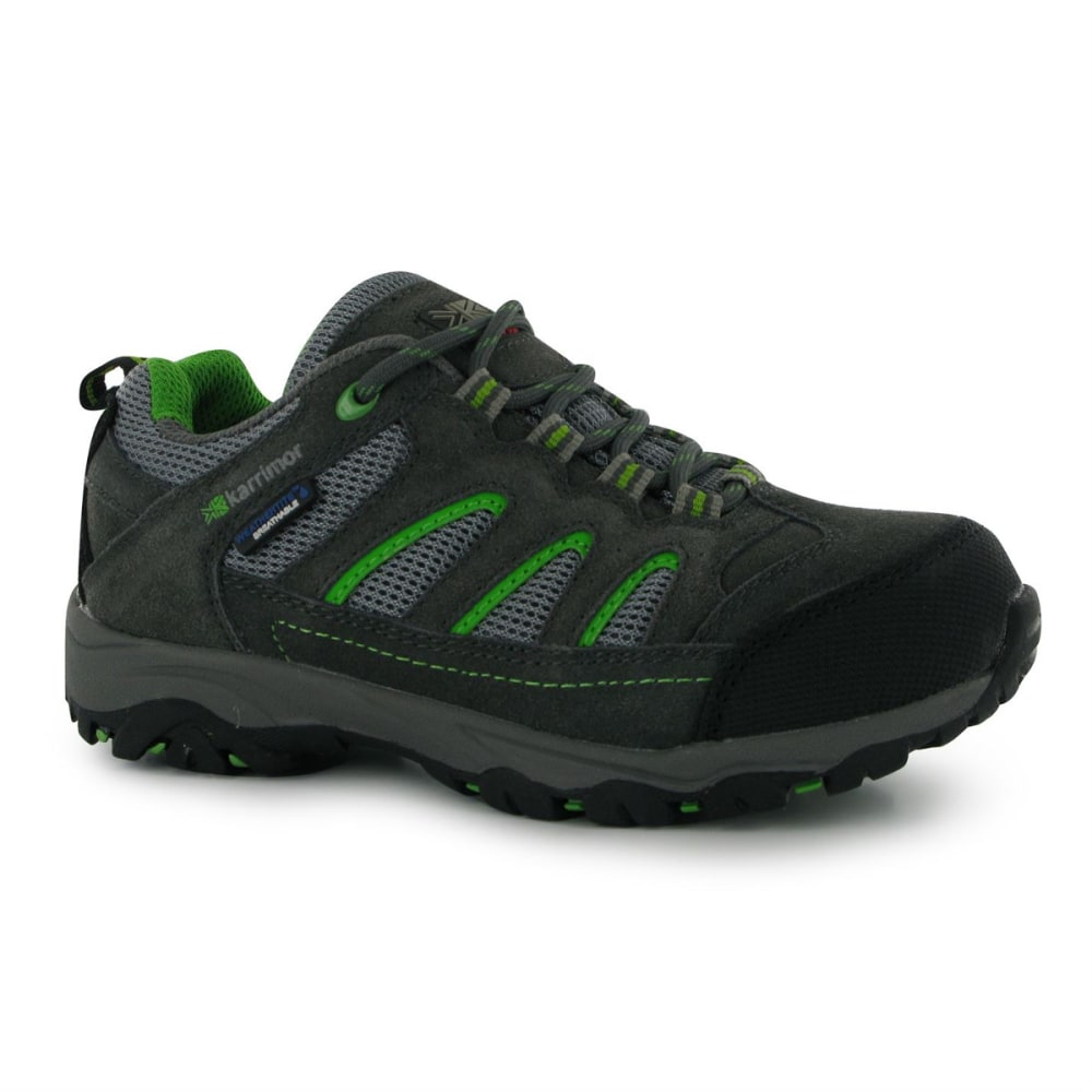 KARRIMOR Big Kids' Mount Waterproof Low Hiking Shoes - CHARCOAL/GREEN