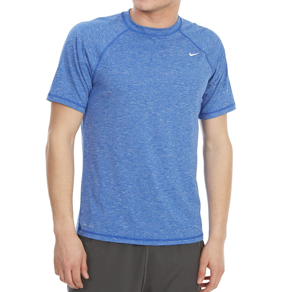 NIKE Men's Heathered Hydro Short-Sleeve Swim Rash Guard - BLUE-416
