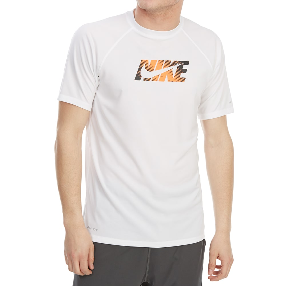 Nike Men's Hydroguard Dri-Fit Swoosh Short-Sleeve Rash Guard - White, M