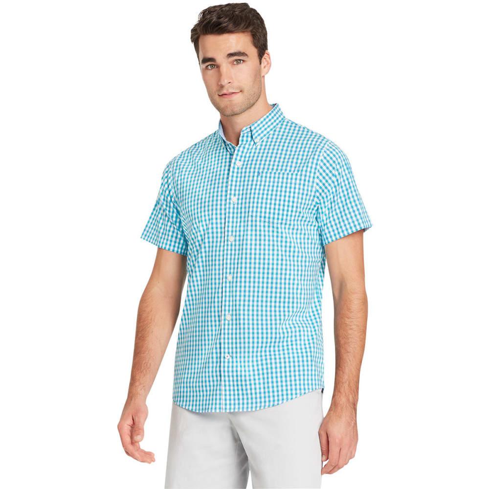 IZOD Men's Advantage Tattersall Stretch Short-Sleeve Shirt - ALGIERS BLUE-431