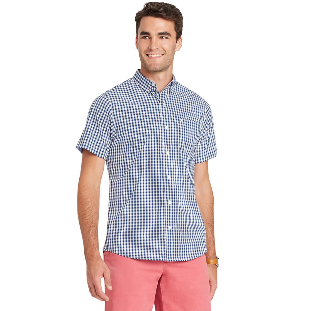 IZOD Men's Advantage Tattersall Stretch Short-Sleeve Shirt - ESTATE BLUE-435