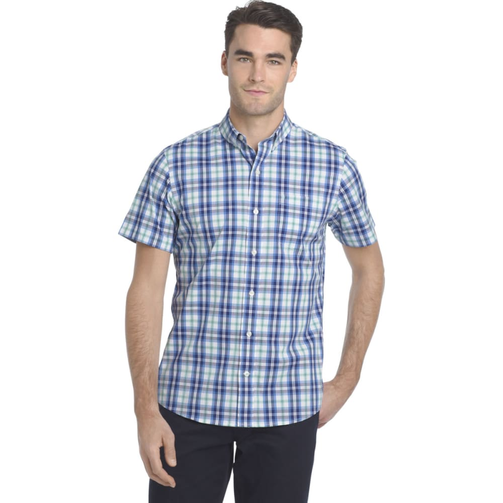 Izod Men's Advantage Cool Fx Plaid Short-Sleeve Shirt - Red, M