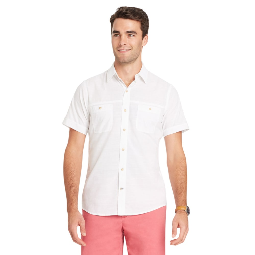 IZOD Men's Saltwater Dockside Chambray Short-Sleeve Shirt - BRIGHT WHITE-116