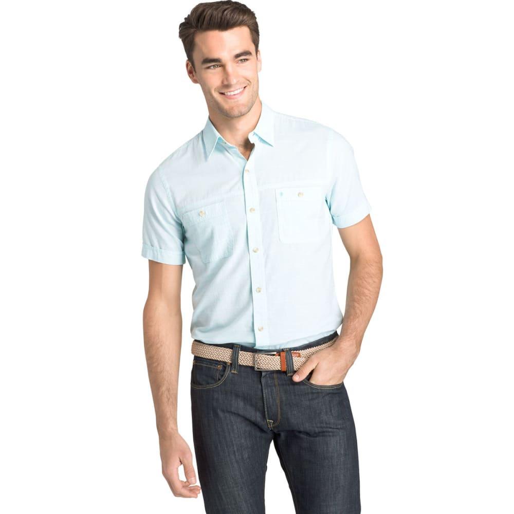 IZOD Men's Saltwater Dockside Chambray Short-Sleeve Shirt M