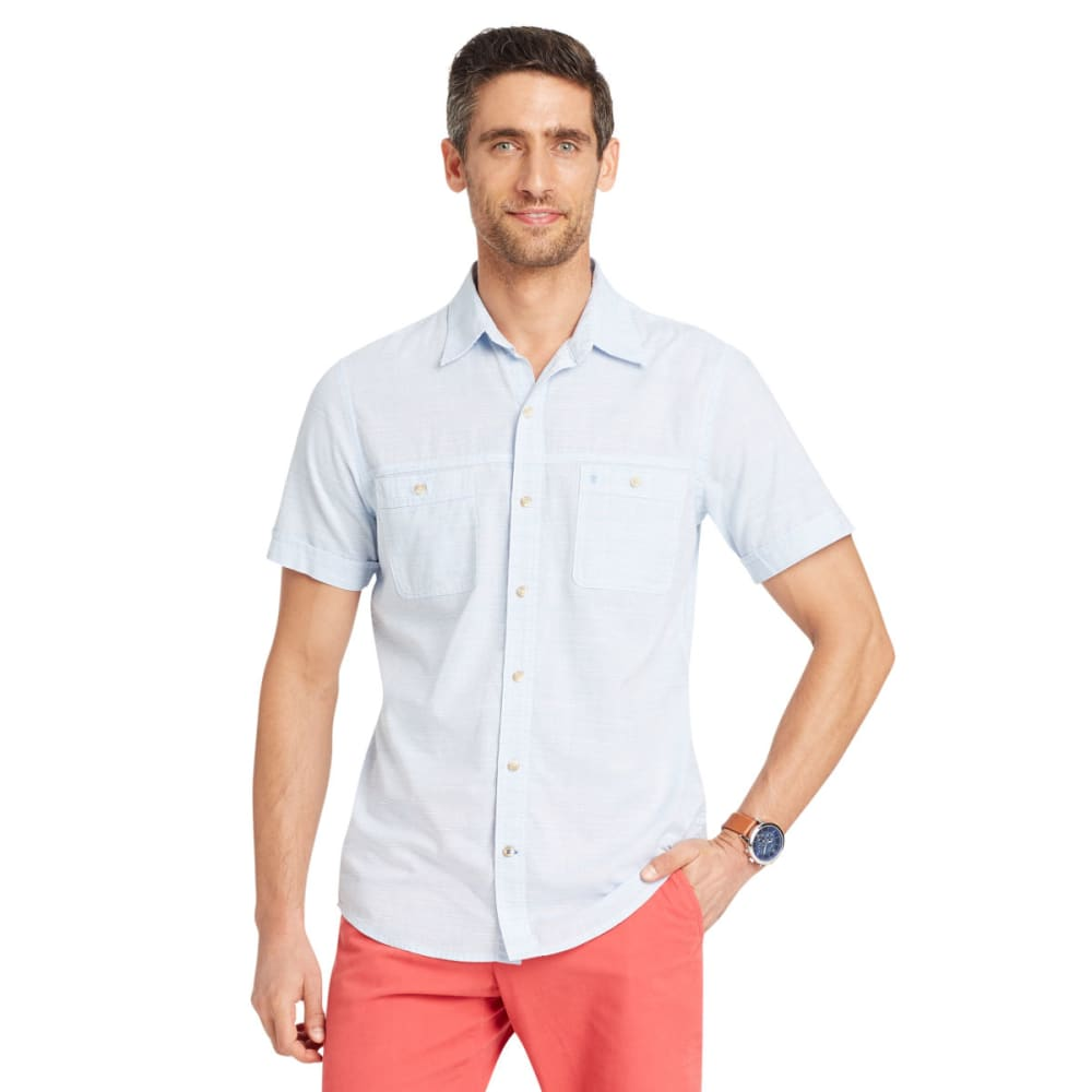 IZOD Men's Saltwater Dockside Chambray Short-Sleeve Shirt M