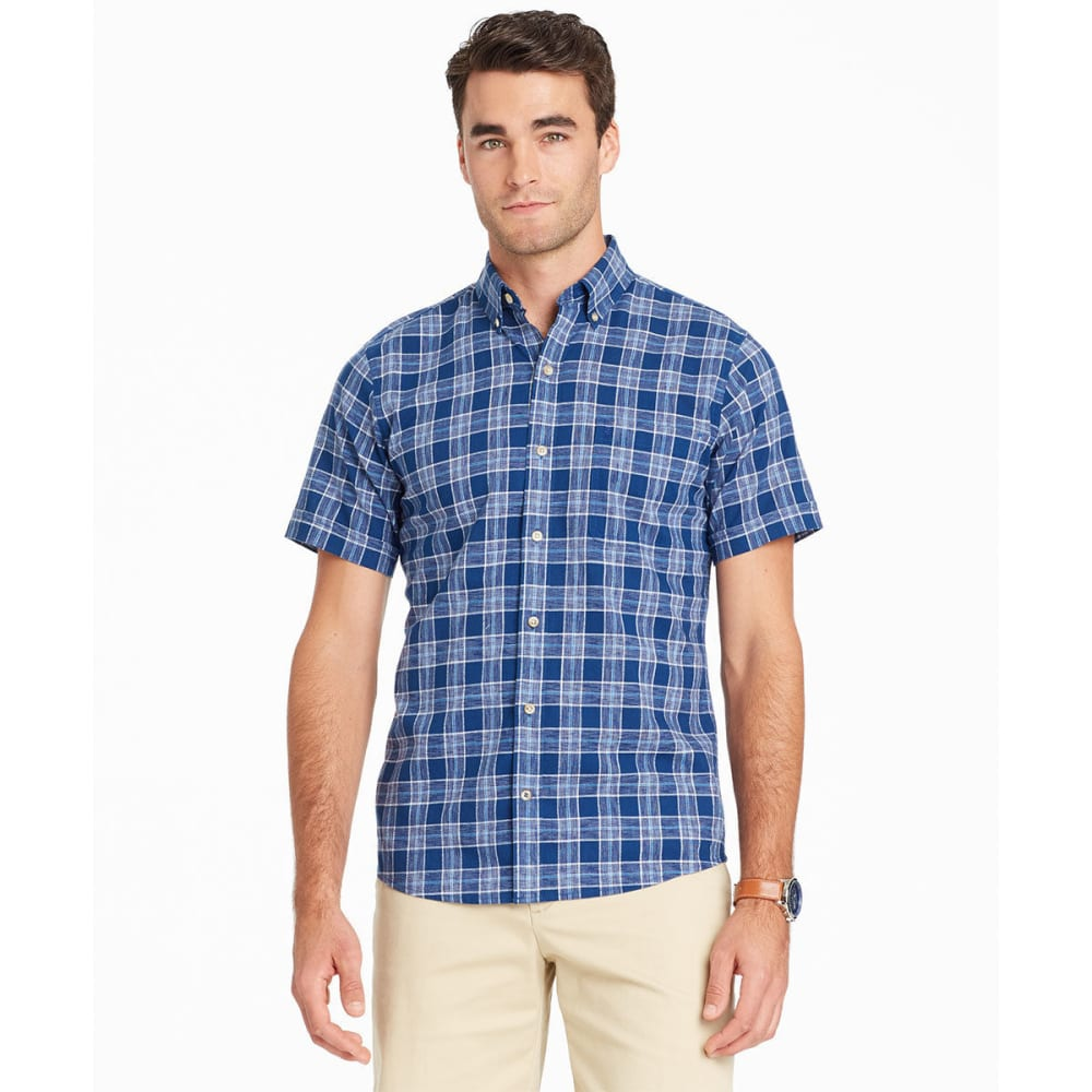 IZOD Men's Saltwater Dockside Plaid Chambray Short-Sleeve Shirt M