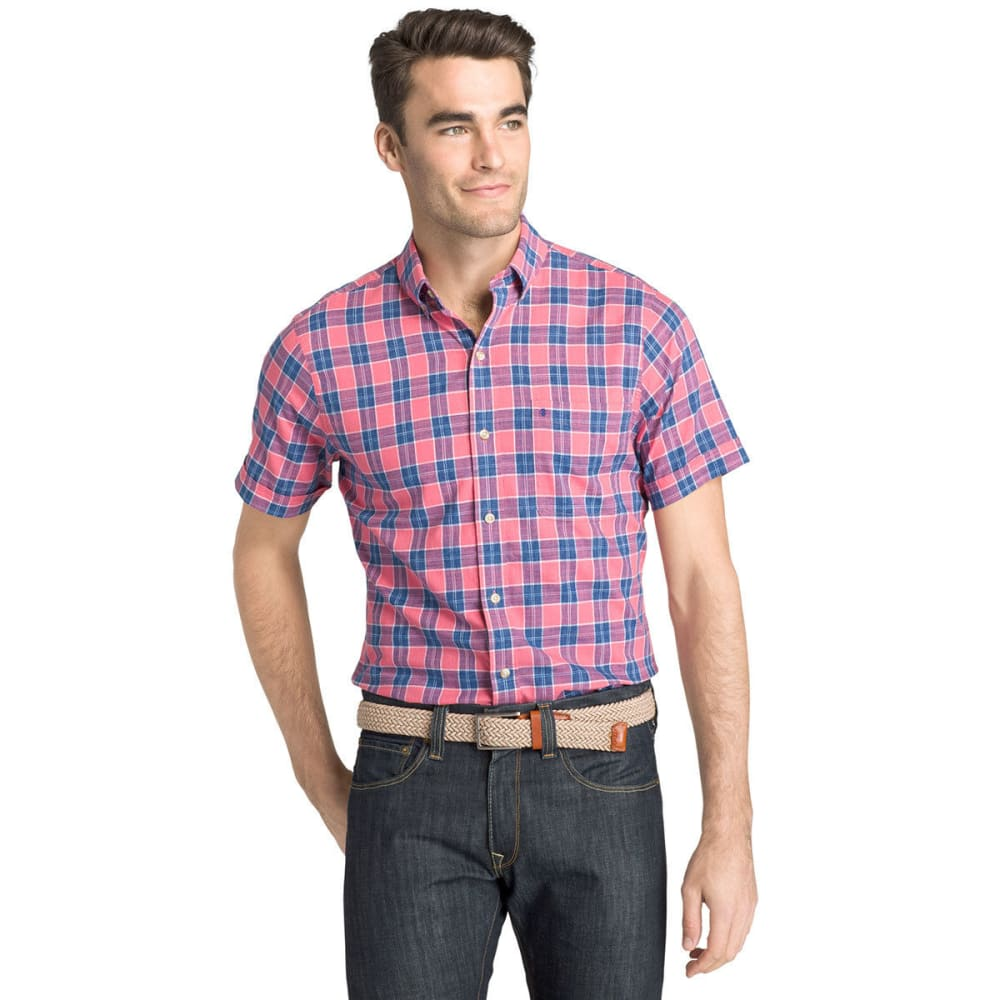 IZOD Men's Saltwater Dockside Plaid Chambray Short-Sleeve Shirt - RAPTURE ROSE-897