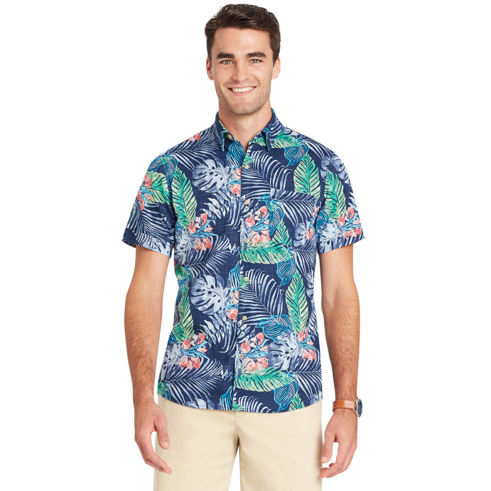 Izod Men's Dockside Chambray Tropical Woven Shirt - Blue, M
